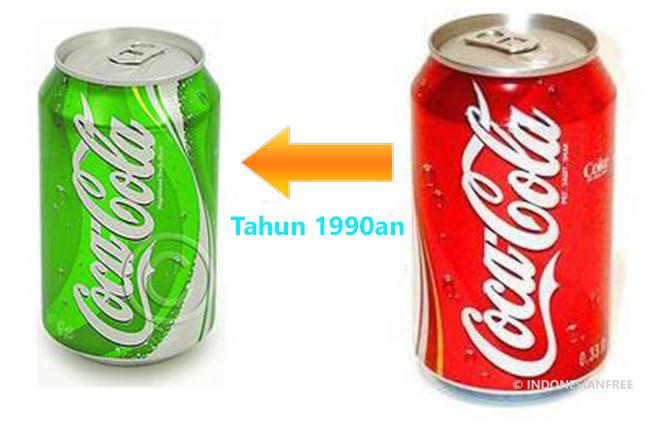 Coca-cola dulu berwarna hijau.