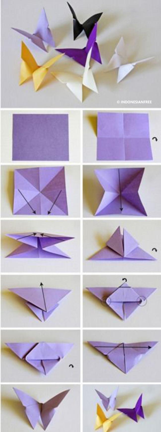 cara melipat kertas origami kupu-kupu