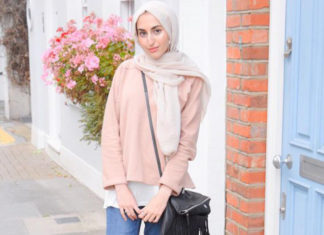 mix and match hijab dengan jeans