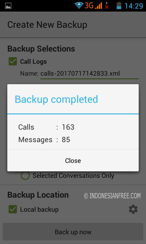 cara backup SMS dan sestore