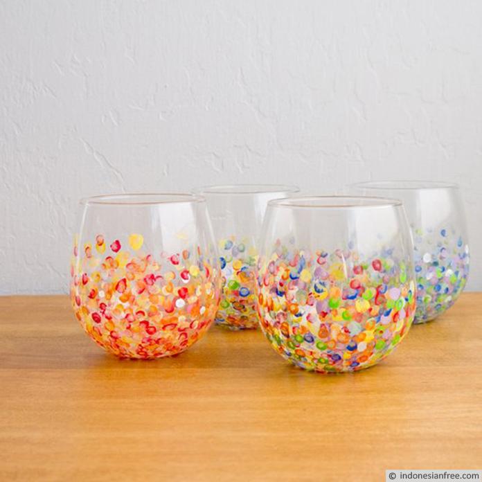 cara menghias gelas kaca