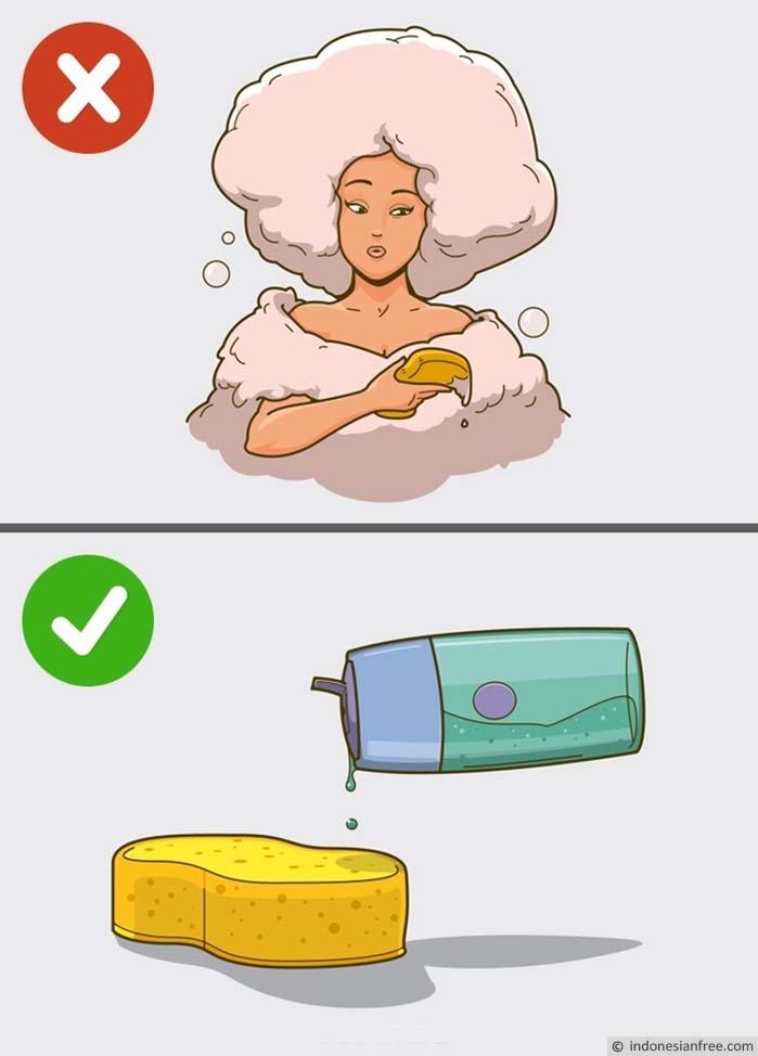 jangan memai sabun terlalu banyak